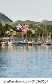 Fishing boats in small harbor on Lofoten Islands, North Norway