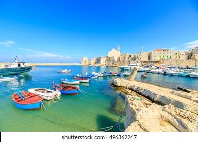 Fishing boats in small port Giovinazzo near Bari, Apulia, Italy