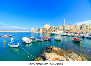 Fishing boats in small port Giovinazzo near Bari, Apulia, Italy