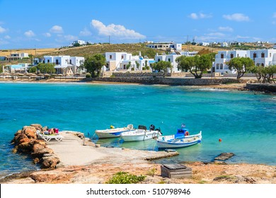 Fishing boats in small sea bay in Naoussa town, Paros island, Greece