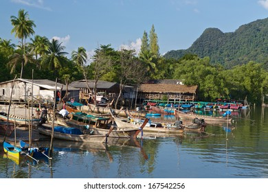 Fishing boats in a small village on the Andaman sea in Thailand