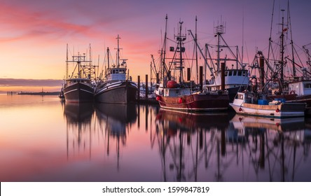 Fishing boats in Steveston Harbour at dusk, Richmond, British Columbia