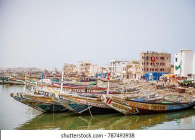 Fishing boats in St.Louis, Senegal.