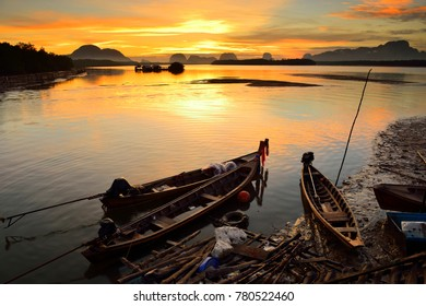 The fishing boats and sunrise