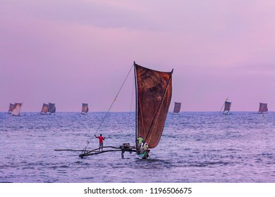Fishing boats at the sunrise in Negombo, Sri Lanka