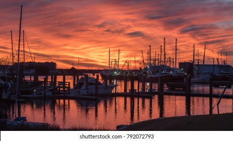Fishing boats at sunset in Marina in Beaufort NC