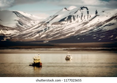 Fishing Boats at Svalbard, Spitsbergen, in the Arctic off the Coast of Norway