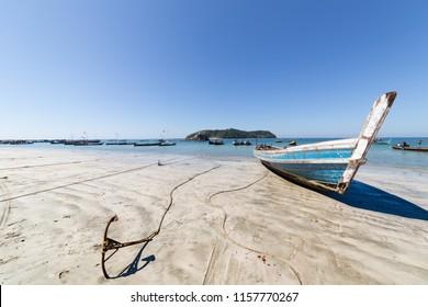 Fishing boats in Thandwe village, Ngapali beach, Myanmar