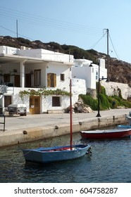 fishing boats and typical Greek architecture village Faros on Sifnos Island Cyclades Greece