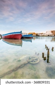 Fishing boats used for tuna fishing by an ancient Phoenician art of fishing called 'Almadraba'. Barbate, Cadiz, Spain.