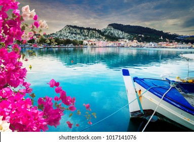 fishing boats in Zaante town harbour, Zakinthos Greece with flowers