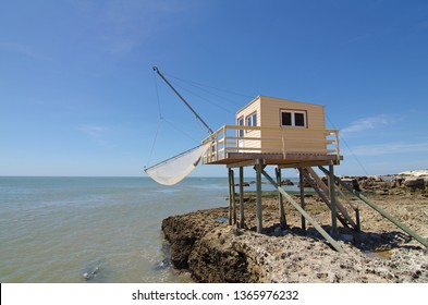 Fishing cabin in the Gironde estuary. West coast of France. Royan, Atlantic ocean