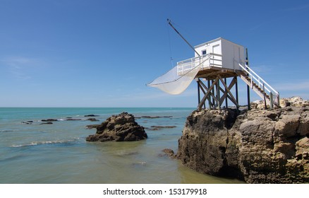 Fishing cabin in the Gironde estuary. West coast of France