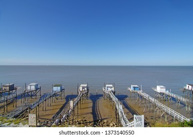 Fishing cabins in the Gironde estuary. West coast of France