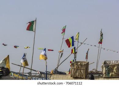 Fishing and cargo boats on River Niger at Mopti