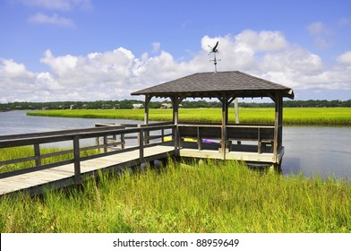 Fishing dock on a marsh