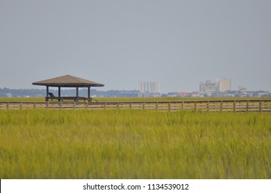 Fishing dock and walkway in the marsh.