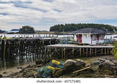 Fishing Docks Piers On Deer Island Stock Photo (Edit Now