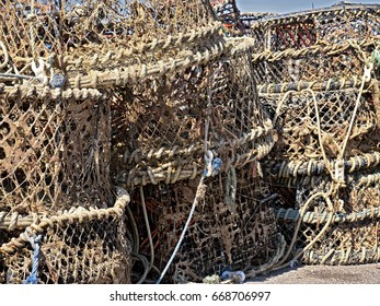 Fishing equipment; lobster and crab pots on quay