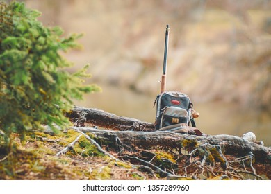 Fishing equipment on the shore of a forest stream.