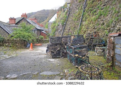 Fishing equipment seen in the small harbour in Clovelly, a small fishing village i Devon, England