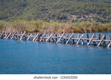 Fishing farm on a River Dalyan between Dalyan village and Iztuzu Beach in Mugla Province of Turkey