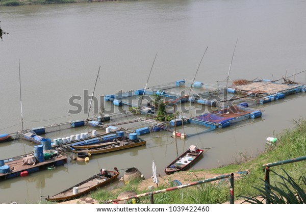 Fishing farm on the river in Thailand