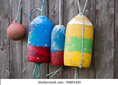 Fishing Floats used for Crab Traps on a Fence