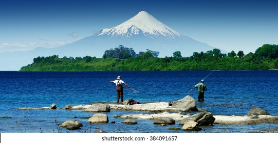 fishing in front of a Volcano