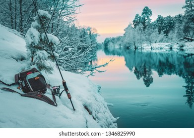 Fishing gear on the bank of a winter river