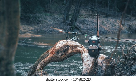 Fishing gear on the river bank