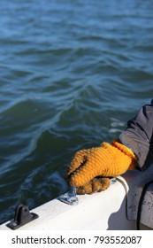 Fishing glove on boat