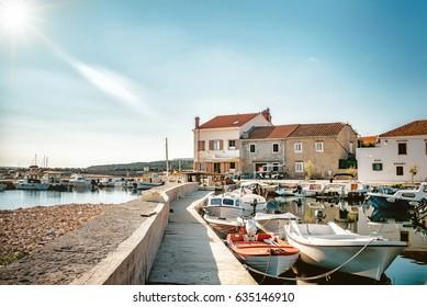 fishing harbor with boats of Silba in Croatia