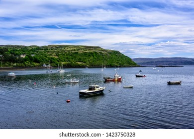 Fishing harbor in Portree, a small village on the Isle of Skye, Scotland