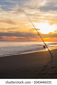 Fishing for hobby and for work along the shore line of the Atlantic Ocean. Emerald Isle and eastern North Carolina draw travelers and vacationers to the water to cast their fishing pole in the water.