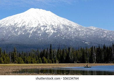 Fishing at Hosmer Lake, Oregon in the shadow of Mount Bachelor