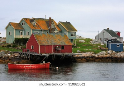 The Fishing House at Peggy Cove on a Cloudy Early Morning, Nova Scotia, Canada