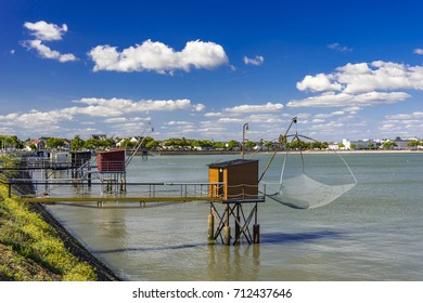 Fishing huts and nets in St Nazaire, France