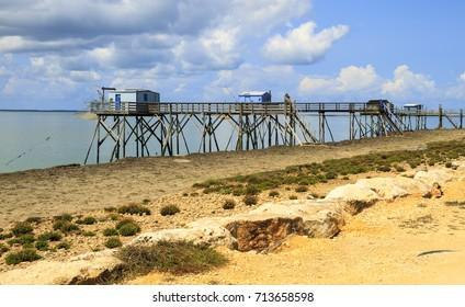Fishing huts on French Atlantic coast