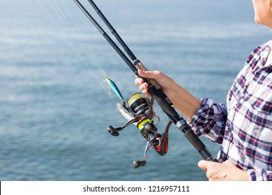 Fishing image with spinning reel and rod
