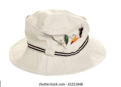 fishing khaki hat with dry flies