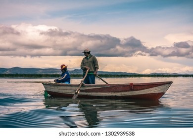 Fishing in the Lake Titicaca, is the highest navigable lake in the world. February 9, 2011, Puno - Peru.