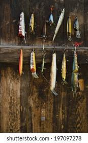 Fishing lure hanging on wall, Sandham, Sweden