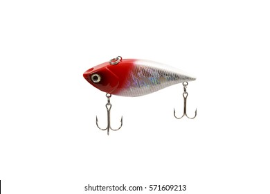 Fishing lure isolated on white background. Wobbler in three color. Green and black colors.