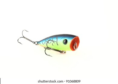 Fishing lure popper. Casting and spinning. Isolated