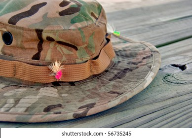 fishing lure stuck in hat band
