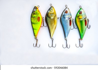 Fishing lures on a white background