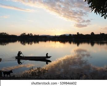 fishing man and his dog
