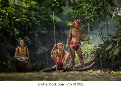 Fishing of Mentawai.The Indigenous inhabitants ethnic of the islands in Muara Siberut are also known as the Mentawai people. West Sumatra, Siberut island, Indonesia.