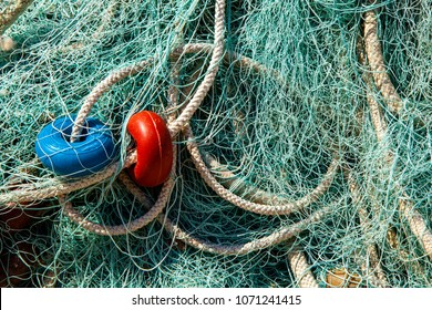 Fishing net with floats. Fisheries.